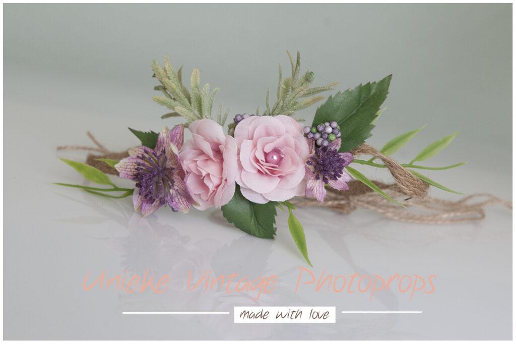 Bloemenkrans roze met paars