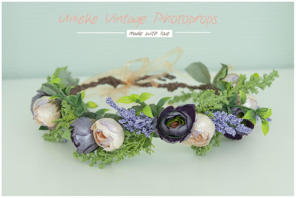 Prachtige bloemenkrans lila /peache