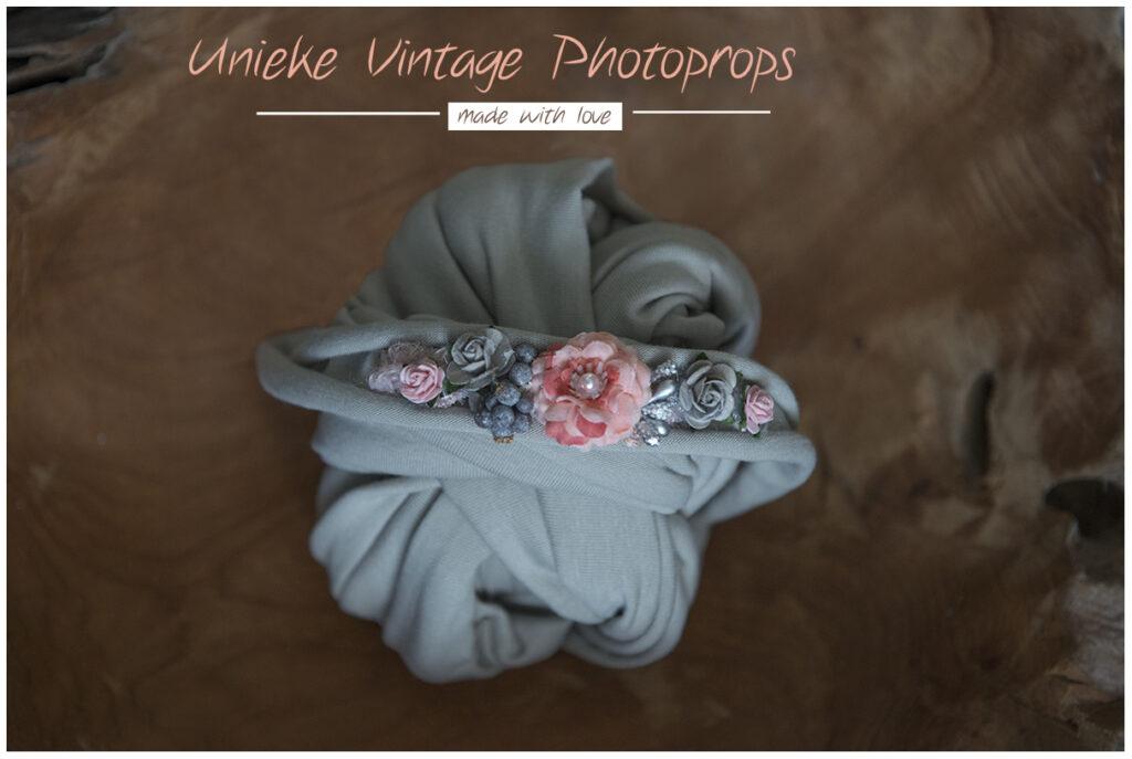 wrapset grey/coral roze flower