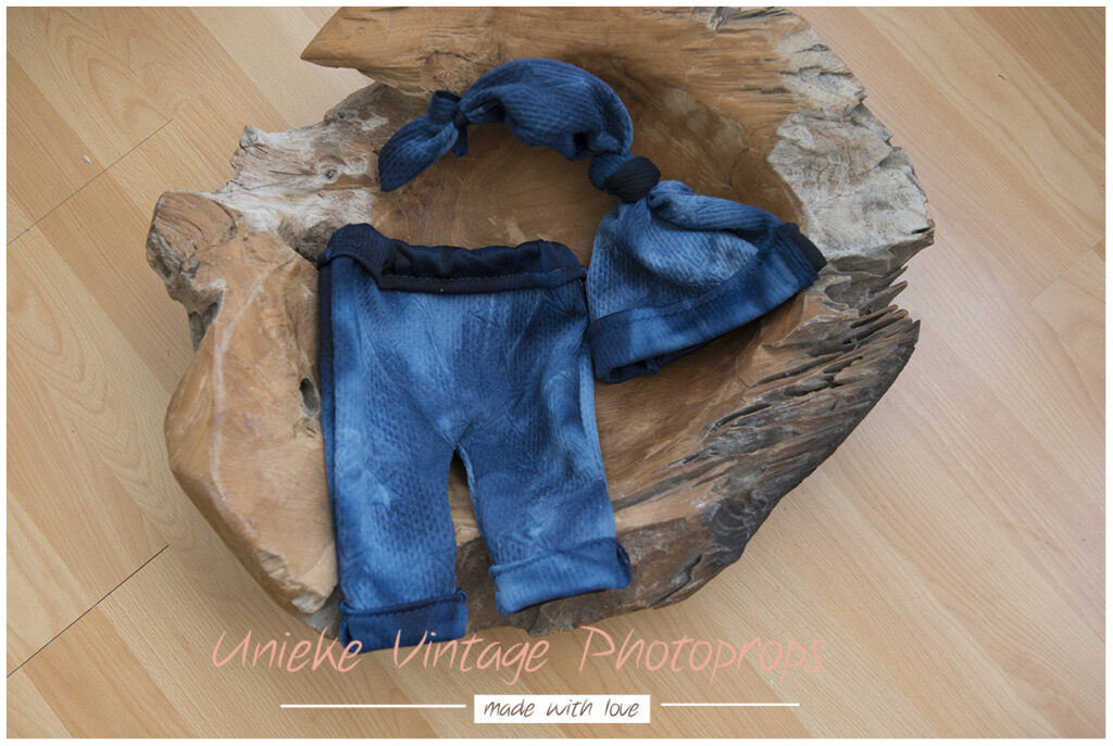 Newborn broekje + mutsje blue gemeleerd