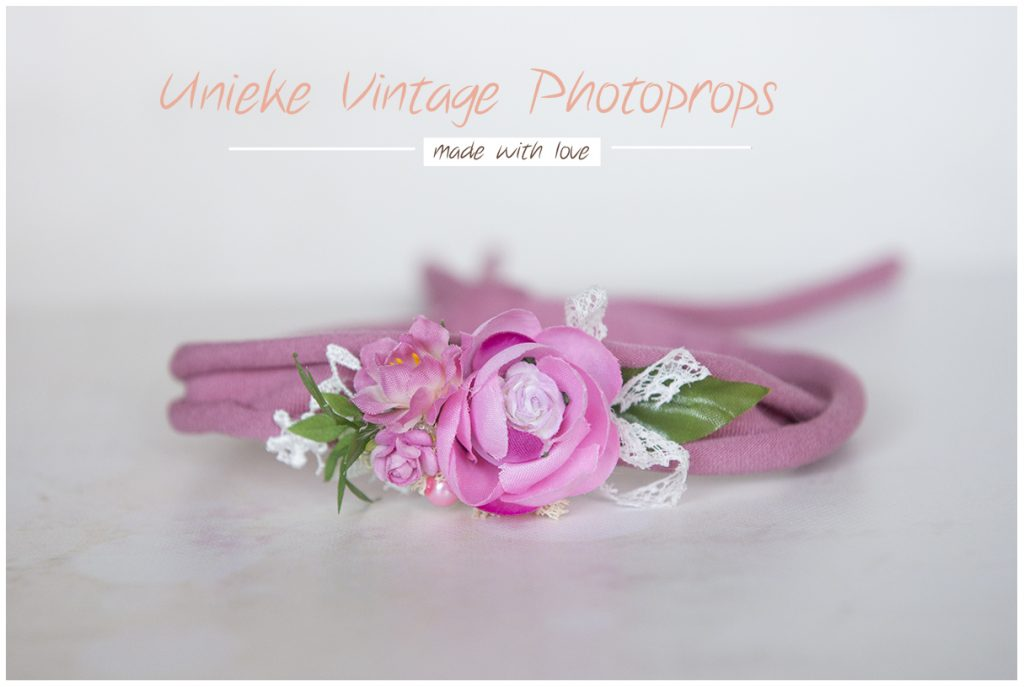 Tieback oud roze met bloem