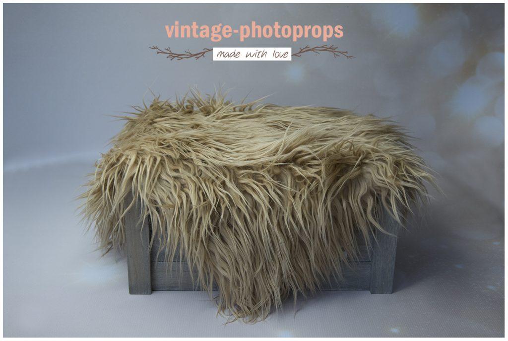 Faux fur camel langharig 50 x 75 cm