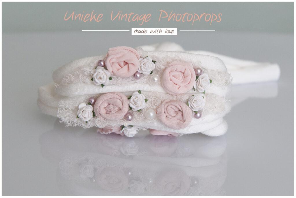 Tieback off white roze bloemen en parels