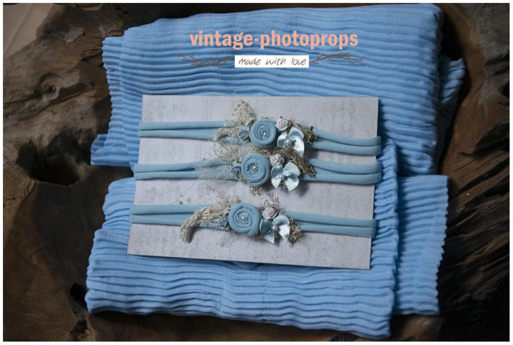 Newborn wrapset stripes blue + tieback