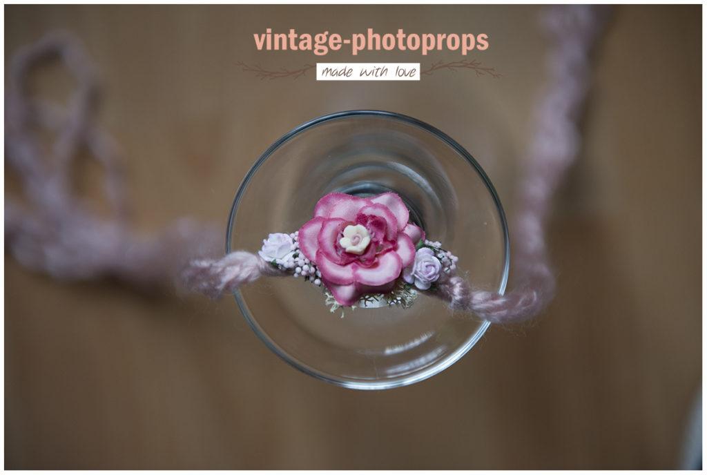 Newborn tieback/hoofdbandje flower deep pink