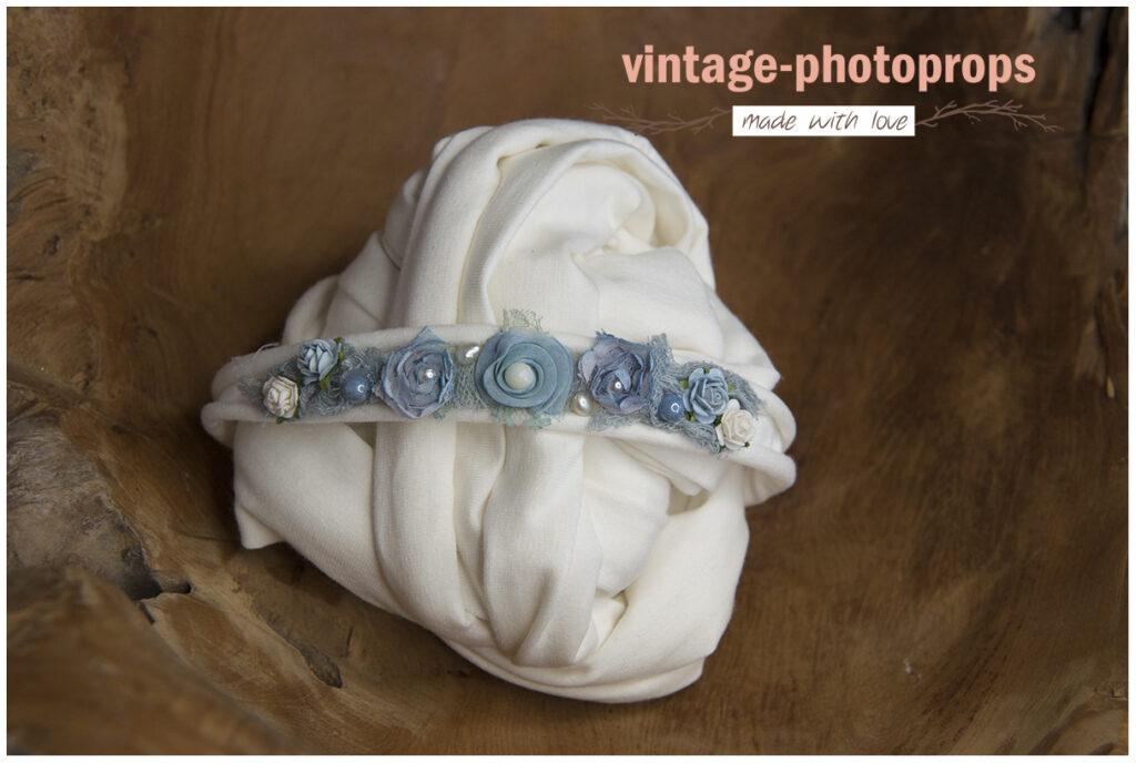 Newborn wrapset créme/babyblauw