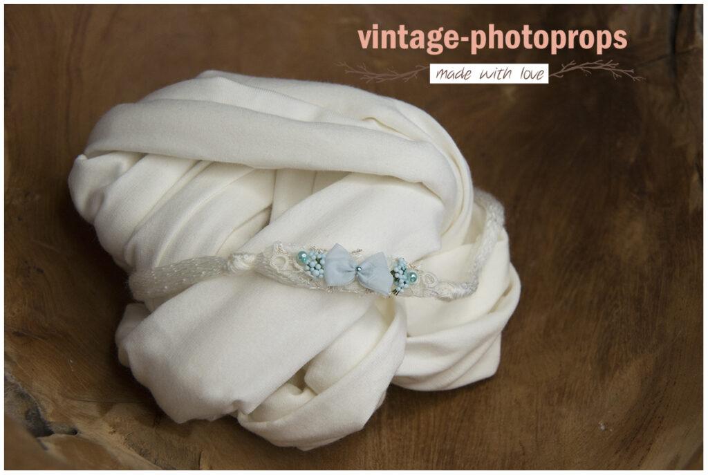 Newborn wrapset offwhite + tieback blauw strikje