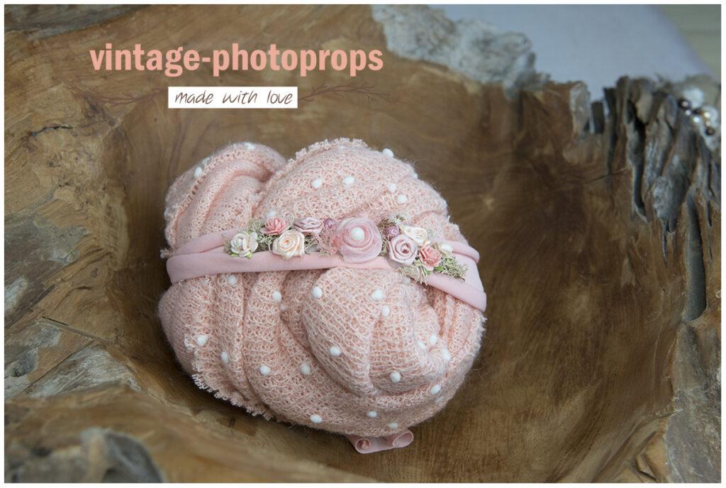 Newborn wrapset deluxe dots zalm roze + tieback zalm