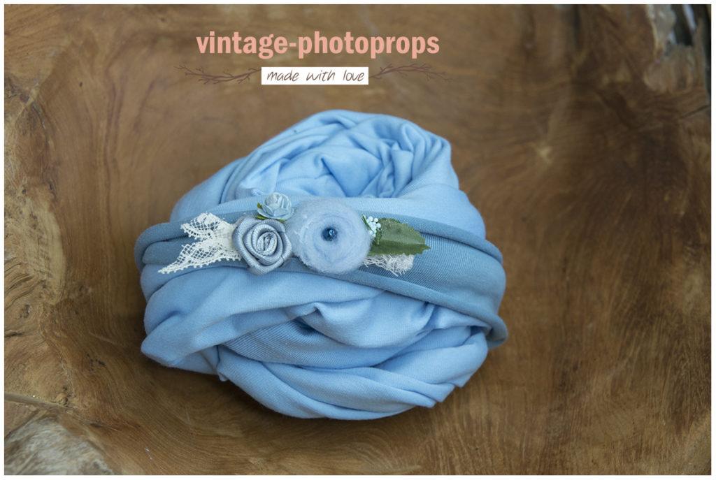 Newborn wrapset blauw + tieback