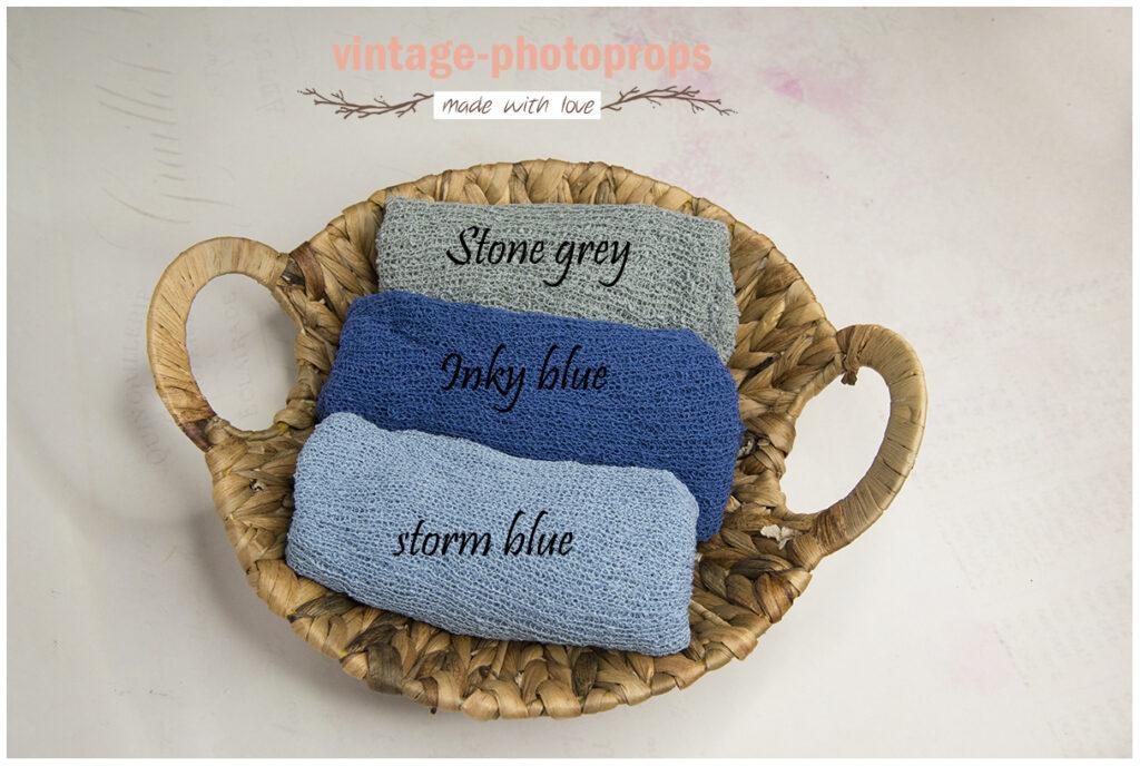 Originele stretchwraps stone grey, inky blue en storm blue