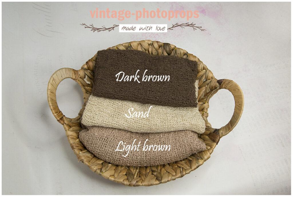 Newborn stretchwraps dark brown, sand en light brown