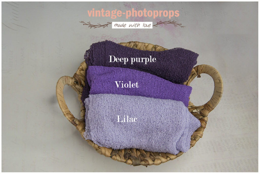 Newborn stretchwrap lilac, violet en deep purple