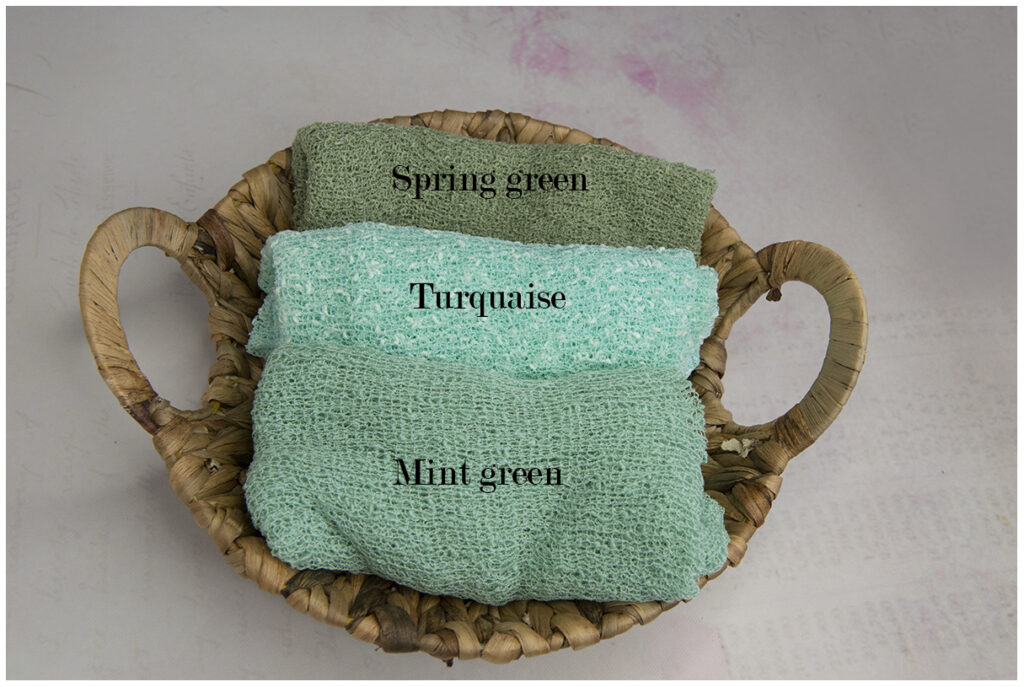 Newborn stretchswrap spring green, mint green en turquaise