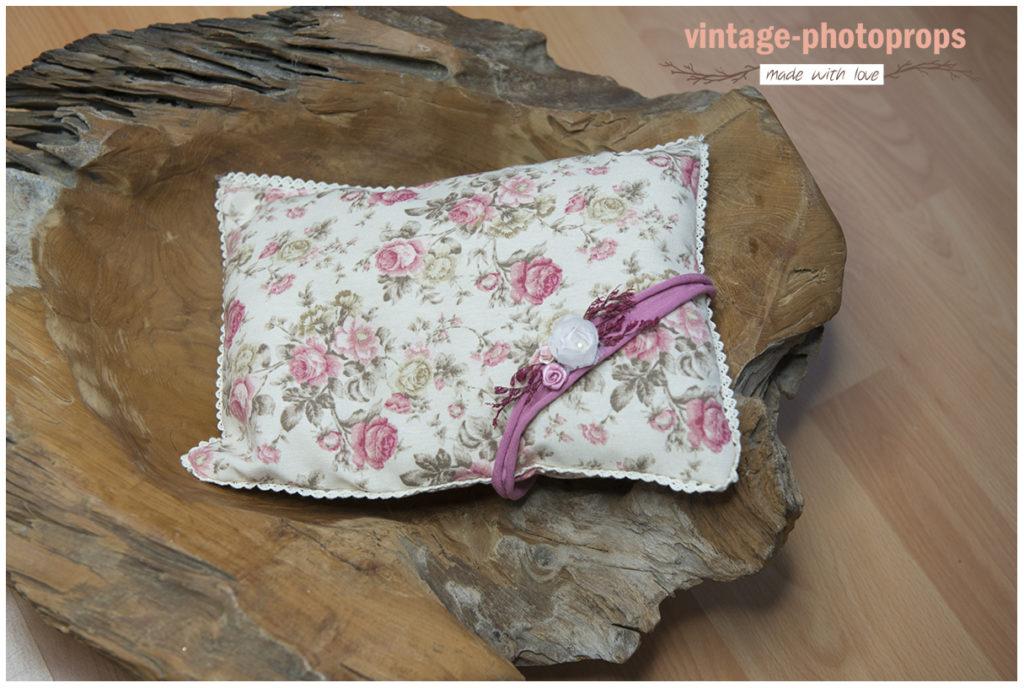 Vintage newbornsetje kussentje roses + tieback