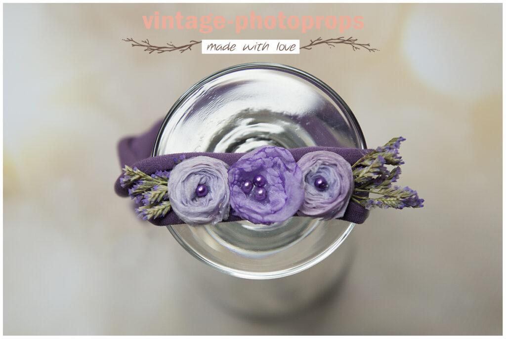 Newborn en sitters tieback paarse bloemen