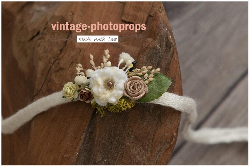 Tieback ivory flower met blad en roosje