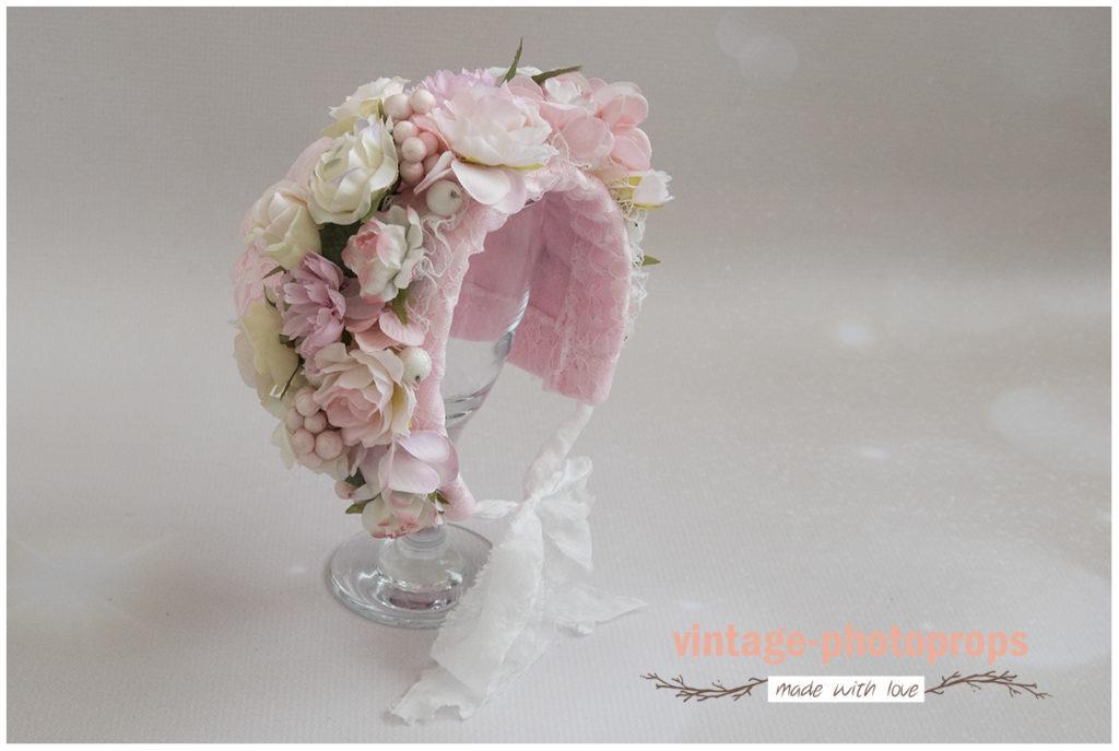 Bloemenbonnet newborn pink/pastel