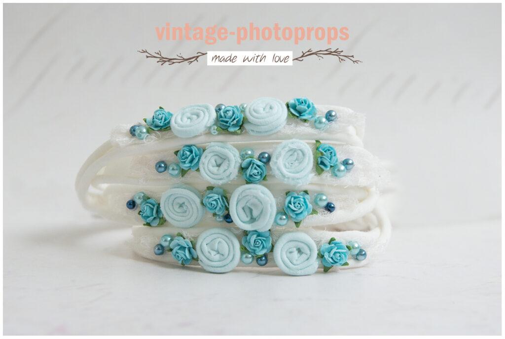 Tieback aqua blue flowers