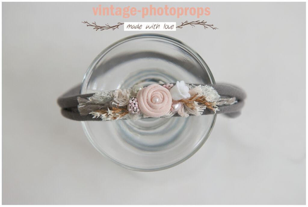 Tieback taupe/pink flower