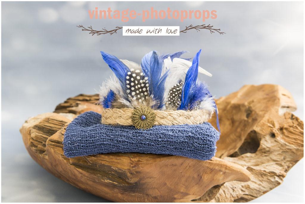 Newbornset indianentooi blauw met wrap