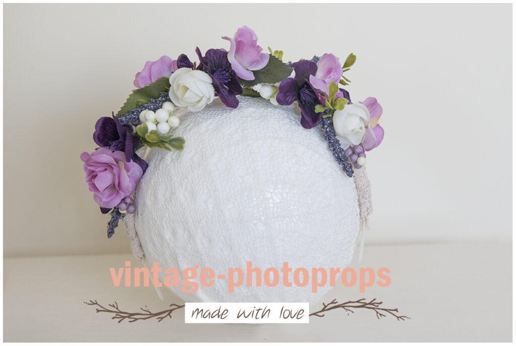 Diadeem bloemenband paars geschikt tot 5 jaar