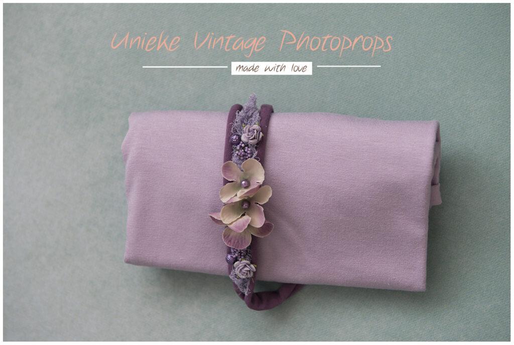 Wrapset lila met hortentia-tieback newborn