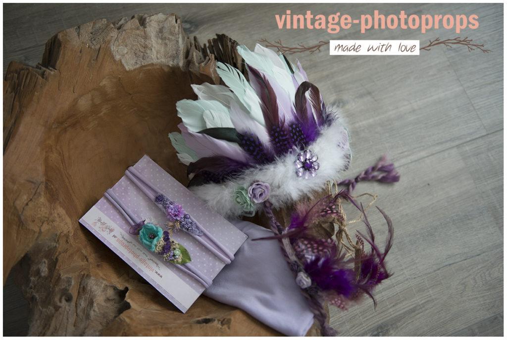 Prachtige lila set sitters/newborn 4-delig